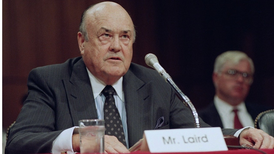 In this Sept. 1992 file photo, former Defense Secretary Melvin R. Laird testifies on Capitol Hill in Washington.