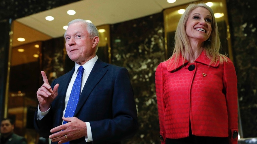 Sen. Jeff Sessions and Trump campaign manager Kellyanne Conway on Nov. 17, 2016.