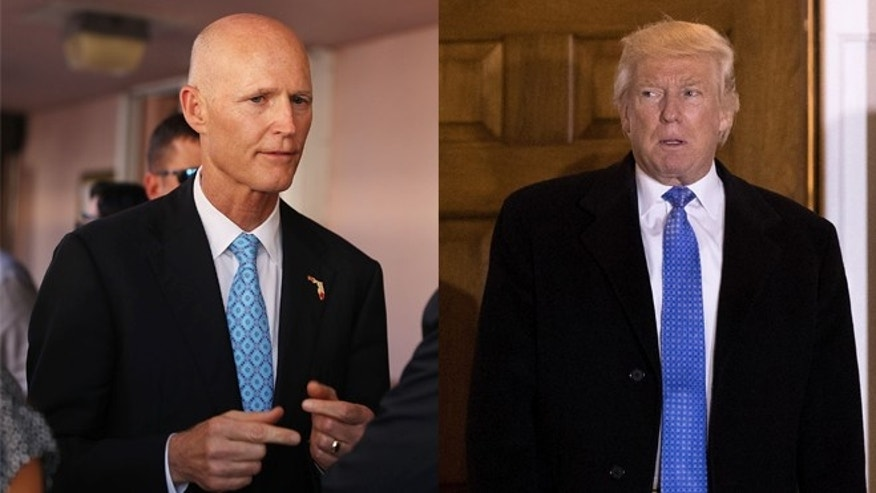 Florida Gov. Rick Scott (left) and President-elect Donald Trump. (Photos: Getty Images)