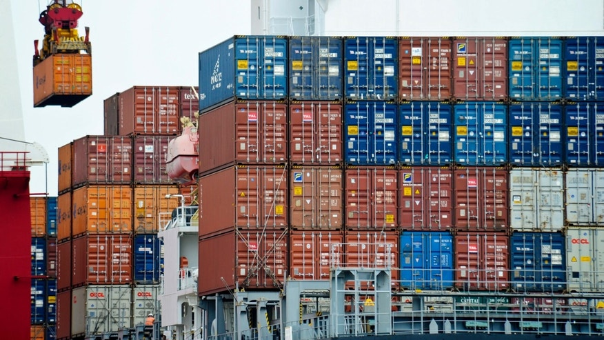 Aug. 5, 2010: A container is loaded onto a cargo ship at the Tianjin port in China.