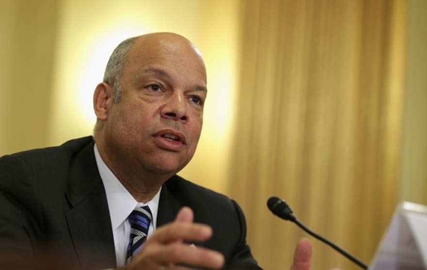 """WASHINGTON, DC - FEBRUARY 26:  U.S. Homeland Security Secretary Jeh Johnson testifies during a hearing before the House Homeland Security Committee February 26, 2014 on Capitol Hill in Washington, DC. The committee held a hearing on """"The Secretary's Vision for the Future - Challenges and Priorities.""""  (Photo by Alex Wong/Getty Images)"""