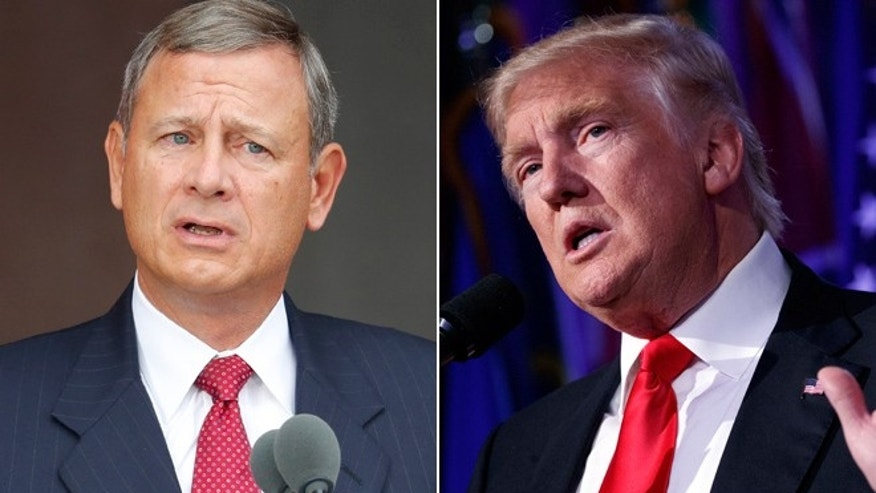 Pictured here is Chief Justice John Roberts, left, and President-elect Donald Trump, right.