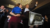 Missouri Republican Governor-elect Eric Greitens delivers a victory speech along side his wife Sheena and son Joshua Tuesday, Nov. 8, 2016, in Chesterfield, Mo. (AP Photo/Jeff Curry)