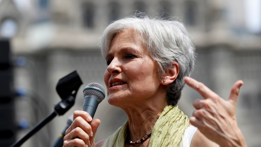 Dr. Jill Stein, presumptive Green Party presidential nominee, speaks at a rally in Philadelphia, Tuesday, July 26, 2016, during the second day of the Democratic National Convention. (AP Photo/Alex Brandon)
