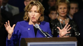 FILE - IN this Nov. 4, 2014 file photo, Sen. Kay Hagan, D-N.C., gives her concession speech during an election night rally in Greensboro, N.C.   Hagan,  has been hospitalized after falling seriously ill, according to Joe Ruthven, her brother.  Hagan was rushed to a Washington, D.C., hospital Thursday, Dec. 8, 2016 and was being treated in an intensive care unit.  (AP Photo/Gerry Broome)