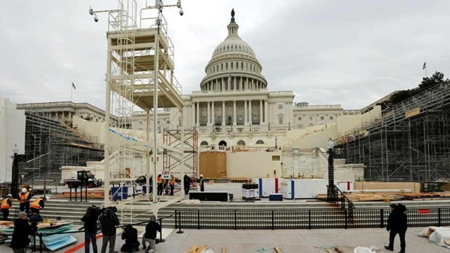 Dec. 8, 2016: Workers construct the viewing stands ahead of U.S. President-elect Donald Trump's January inauguration at the U.S. Capitol in Washington, U.S.