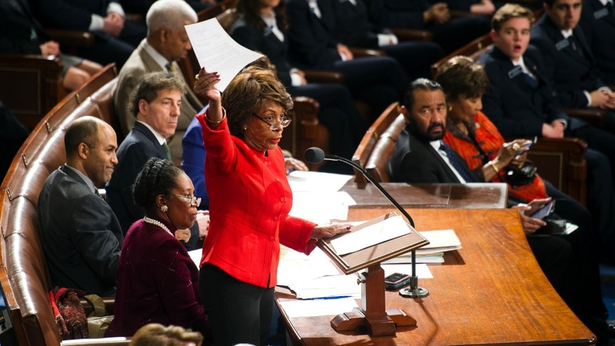 Jan. 6, 2017: Rep. Maxine Waters, D-Calif., holds up a written objection to the Electoral College vote and calls on a Senator to join in the objection during a joint session of Congress to count the electoral ballots, on Capitol Hill in Washington.