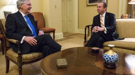 Senate Majority Leader Mitch McConnell of Ky., left, meets with Budget Director-designate Rep. Mick Mulvaney, R-S.C. on Capitol Hill in Washington, Thursday, Jan. 5, 2017. (AP Photo/Zach Gibson)
