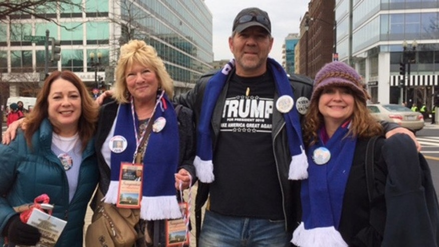 Lisa Lackovitch, Julie Patton, Antonio Szilagyi and another Trump supporter traveled to D.C. for the inauguration. (FoxNews.com/Barnini Chakraborty)