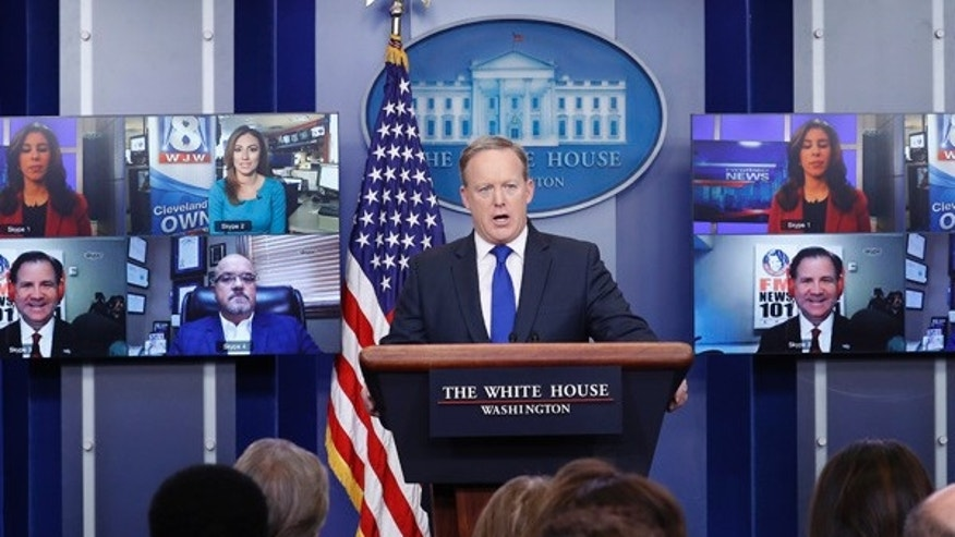 "Sean Spicer takes questions from ""Skype seat"" reporters during Wednesday's White House press briefing."
