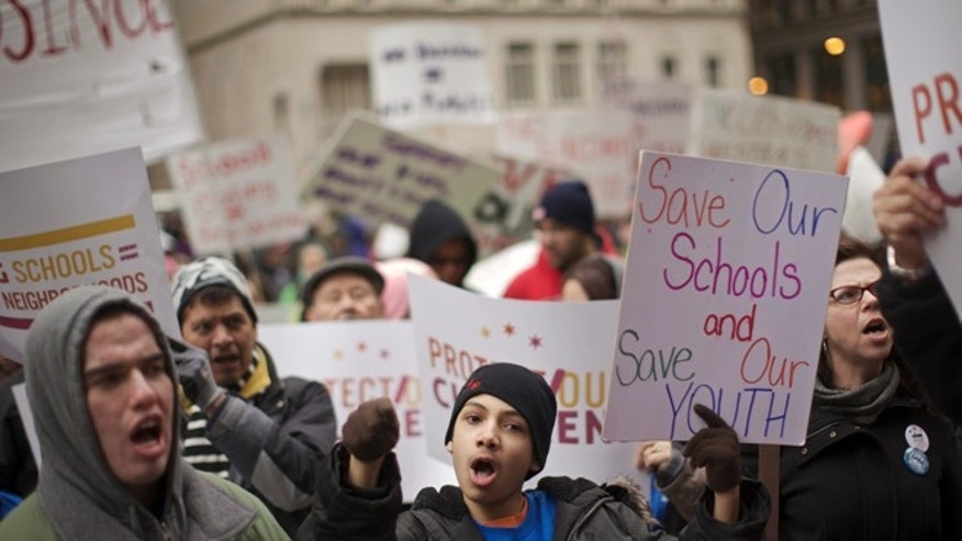 Chicago Public Schools teachers rally during a 2013 strike in this file photo.