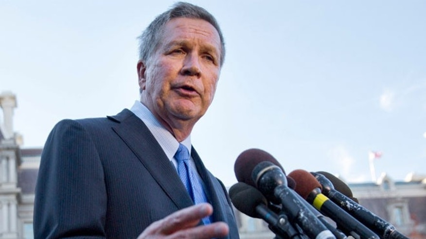 FILE 2016: Ohio Gov. John Kasich answers questions from reporters outside the West Wing of the White House