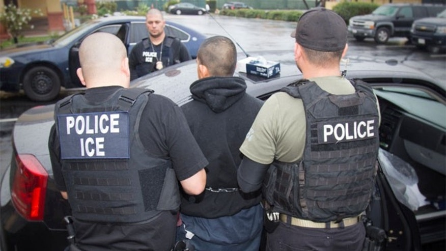 FILE 2017: A photo released by ICE shows foreign nationals being arrested this week.