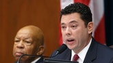 In this Sept. 30, 2014 file photo, Rep. Jason Chaffetz, R-Utah, accompanied by Rep. Elijah Cummings, D-Md., speaks on Capitol Hill in Washington.