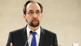 Zeid Ra'ad Al Hussein, U.N. High Commissioner for Human Rights attends the 34th session of the Human Rights Council at the European headquarters of the United Nations in Geneva, Switzerland, February 27, 2017. REUTERS/Denis Balibouse - RTS10KDF