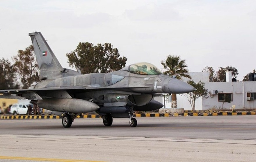 An F16 fighter jet from the United Arab Emirates (UAE) arrives at an air base in Jordan February 8, 2015. A squadron of F16 jet fighters from the United Arab Emirates arrived in Jordan on Sunday a day after the Gulf state announced it was being sent to bolster the coalition's military effort against the Islamic State. It will conduct joint air strikes with Jordanian colleagues against the Islamic militants, Jordanian officials said on Saturday. REUTERS/Petra News Agency (JORDAN - Tags: POLITICS CONFLICT CIVIL UNREST MILITARY TRANSPORT) - RTR4OPHC