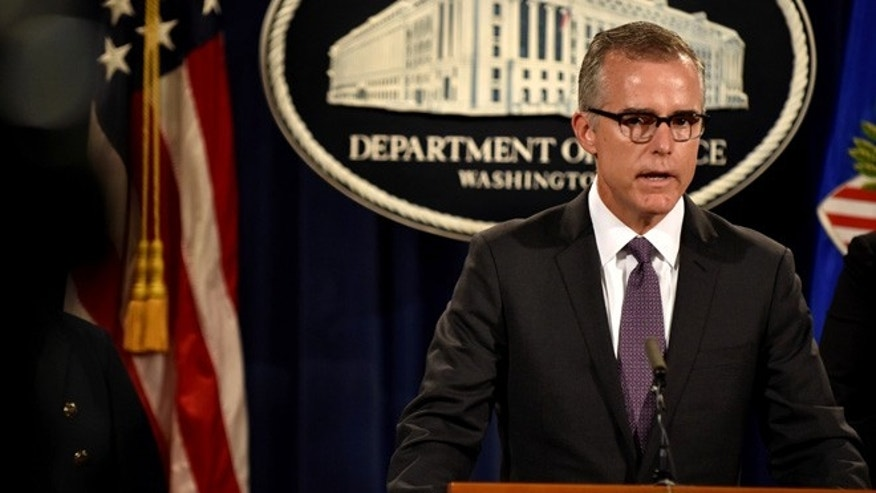 In this July 20, 2016 photo, FBI Deputy Director Andrew McCabe speaks at a press conference in Washington.