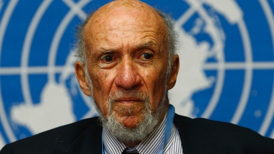 March 21, 2014: Then-United Nations Special Rapporteur for the Palestinian territories Richard Falk addresses a news conference at the U.N. European headquarters in Geneva.