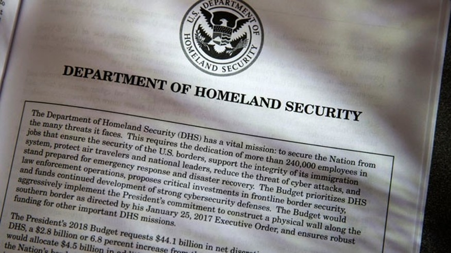 Proposals for the Homeland Security Department in President Donald Trump's first budget are displayed at the Government Printing Office in Washington, Thursday