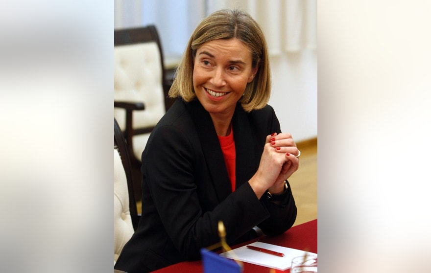 Federica Mogherini, the European Commission's high representative for foreign affairs and security policy, looks on during her meeting with Macedonian President Gjorge Ivanov, at the presidential office in Skopje, Macedonia, Thursday, March 2, 2017. While on her Western Balkans tour, the European Union's foreign policy chief Mogherini arrived to Skopje Thursday to meet the country's officials amid the political instability that threatens Macedonia. (AP Photo/Boris Grdanoski)