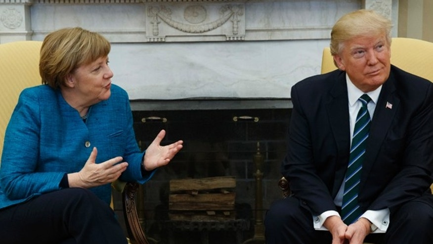 March 17, 2017: President Donald Trump meets with German Chancellor Angela Merkel in the Oval Office of the White House in Washington.