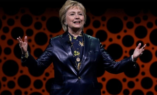 3bf96bd96 Former Secretary of State Hillary Clinton gestures while speaking before  the Professional Businesswomen of California