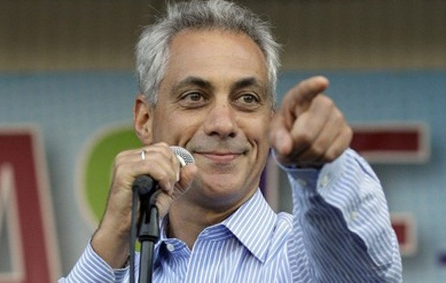 Chicago Mayor Rahm Emanuel speaks during Taste of Chicago, Wednesday, July 11, 2012 in Chicago. (AP Photo/Nam Y. Huh)