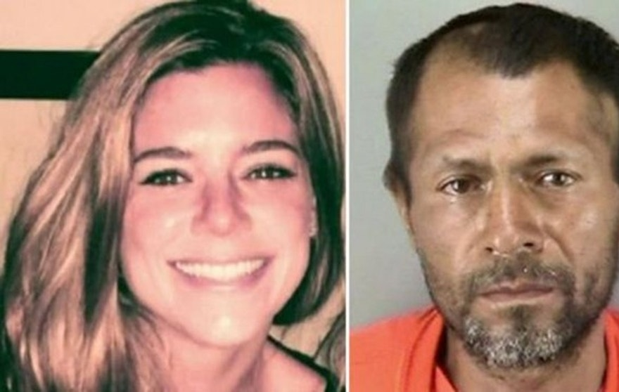 Kate Steinle and murder suspect Francisco Sanchez are shown in this AP composite photo.