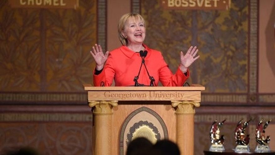 March 31, 2017: Former Secretary of State Hillary Clinton speaks at Georgetown University on the important role that women can play in international politics and peace building efforts.