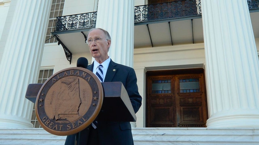 Alabama Gov. Robert Bentley speaks during a news conference on Friday, April 7, 2017, outside the Alabama Capitol building in Montgomery, Ala.