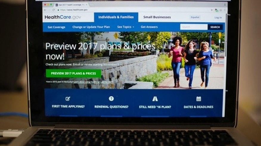 FILE - In this Oct. 24, 2016 file photo, the HealthCare.gov 2017 web site home page is seen on a laptop in Washington.