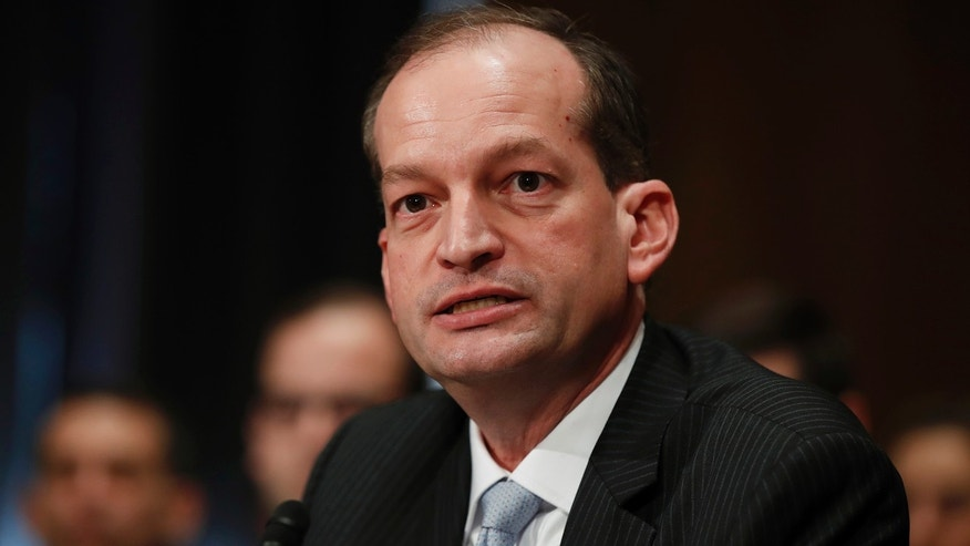 In this March 22, 2017 file photo, Labor secretary-designate Alexander Acosta testifies on Capitol Hill in Washington.