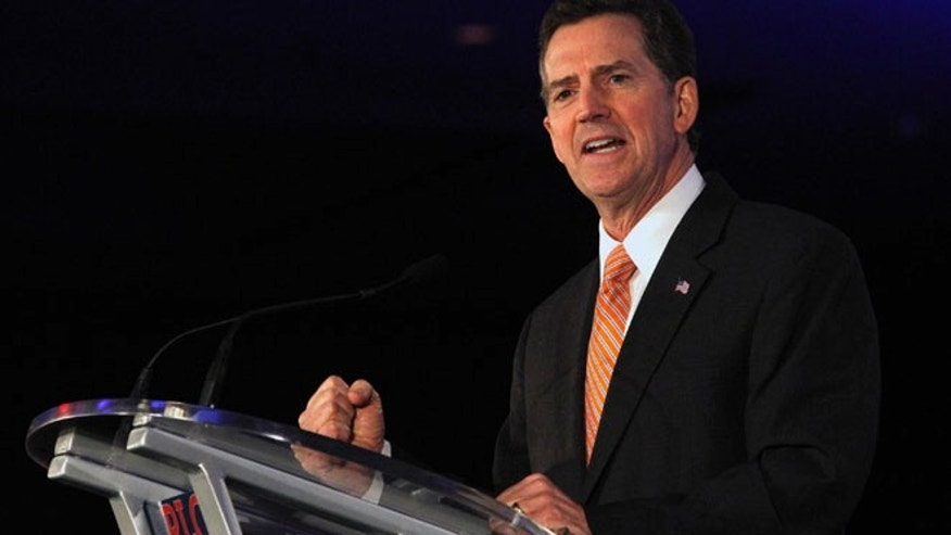 In this June 17, 2011 file photo, Jim DeMint speaks during the Republican Leadership Conference in New Orleans.