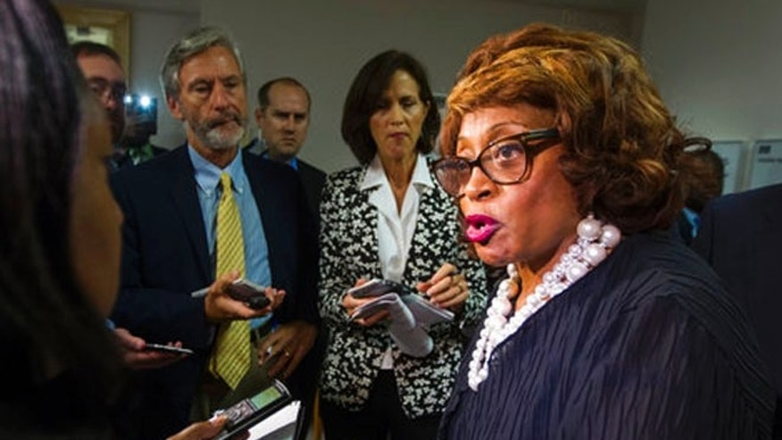 Aug. 13, 2015: Former Rep. Corrine Brown talks with the press in Tallahassee, Fla.