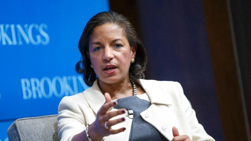 FILE - In this Feb. 6, 2015 file photo, National Security Adviser Susan Rice speaks at the Brookings Institution in Washington.