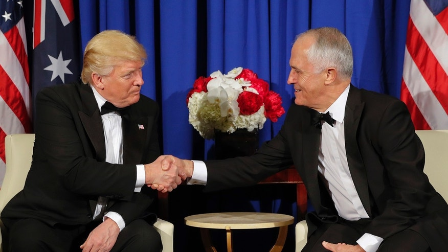 President Donald Trump and Australian Prime Minister Malcolm Turnbull shake hands during their meeting aboard the USS Intrepid, a decommissioned aircraft carrier docked in the Hudson River in New York, Thursday, May 4, 2017.