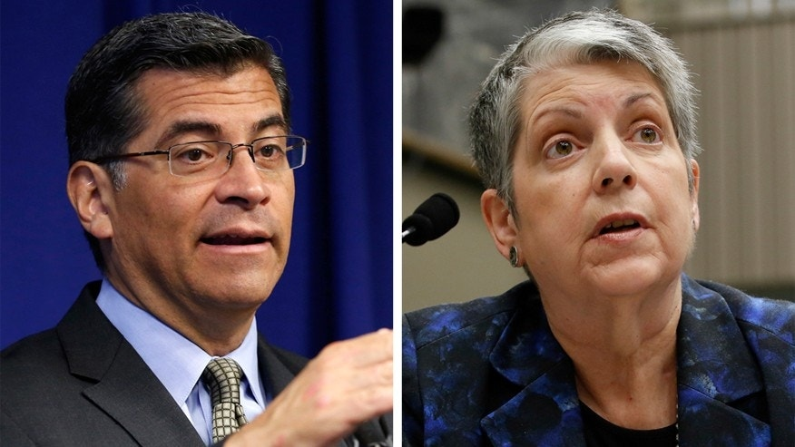 California Attorney General Xavier Becerra (left), University of California President Janet Napolitano