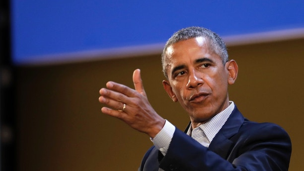 """United States former President Barack Obama talks during the """"Seeds&Chips - Global Food Innovation"""" summit, in Milan, Tuesday, May 9, 2017. Obama is in Milan to deliver a keynote speech on food security and the environment, two issues that he has long worked on. (AP Photo/Luca Bruno)"""