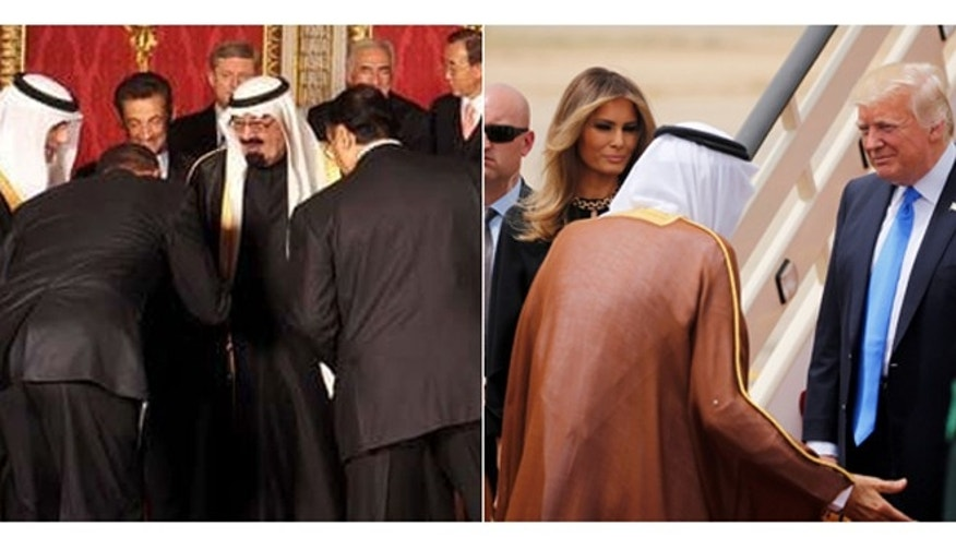 1495294316263?ve=1&tl=1 trump shakes hands with saudi leader, doesn't bow as obama appeared