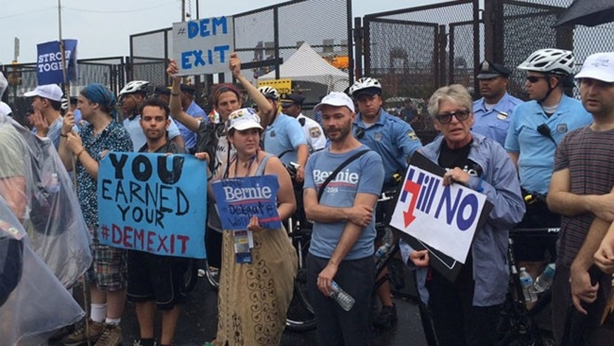 July 28, 2016: Pro-Bernie Sanders protesters demonstrate outside the Democratic National Convention in Philadelphia.