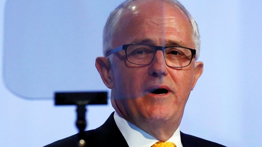 FILE: Australia's PM Malcolm Turnbull gives speech in Singapore.