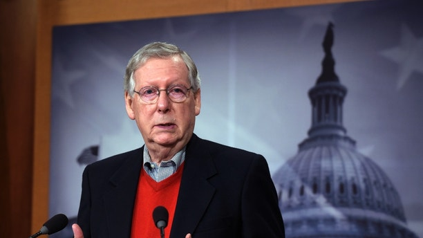 Senate Majority Leader Mitch McConnell of Ky., speaks during a news conference on Capitol Hill in Washington, Monday, Dec. 12, 2016. (AP Photo/Susan Walsh)
