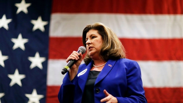 Republican candidate for 6th congressional district Karen Handel speaks at a campaign event where she was joined by House Speaker Paul Ryan in Dunwoody, Ga., Monday, May 15, 2017. (AP Photo/David Goldman)