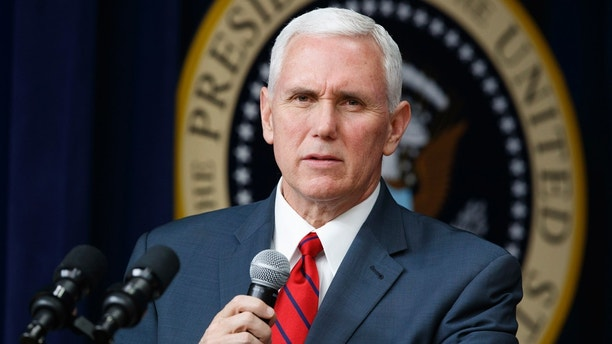 "FILE- In this April 4, 2017, file photo, Vice President Mike Pence speaks during a town hall with business leaders in the South Court Auditorium on the White House complex in Washington. Pence is set to arrive Sunday, April 16, in South Korea as President Donald Trump vows that North Korea Kim Jong Un's government is a ""problem"" that will be ""taken care of."" (AP Photo/Evan Vucci, File)"