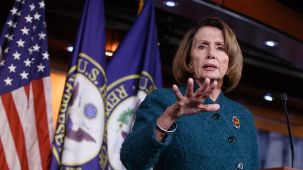 House Minority Leader Nancy Pelosi of Calif. responds to questions about President Donald Trump's actions and agenda, during a news conference on Capitol Hill in Washington, Thursday, Feb. 2, 2017. (AP Photo/J. Scott Applewhite)