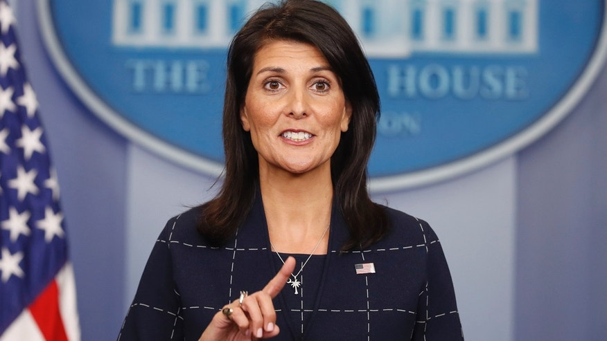U.S. Ambassador to the UN Nikki Haley speaks to the media during the daily briefing in the Brady Press Briefing Room of the White House in Washington Monday