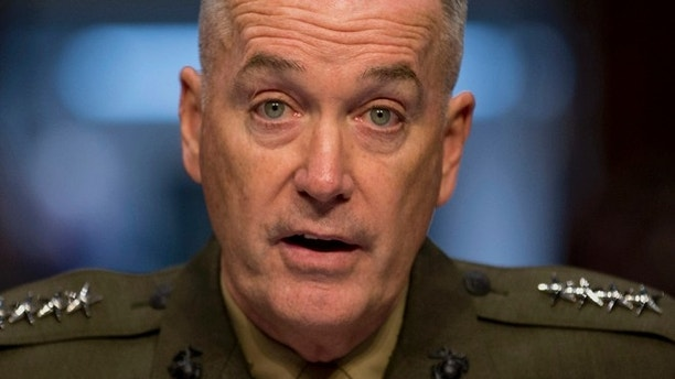 FILE - In this March 12, 2014 file photo, Gen. Joseph F. Dunford, Jr. testifies on Capitol Hill in Washington. President Barack Obama will nominate Dunford as next Joint Chiefs of Staff chairman. (AP Photo/Carolyn Kaster, File)