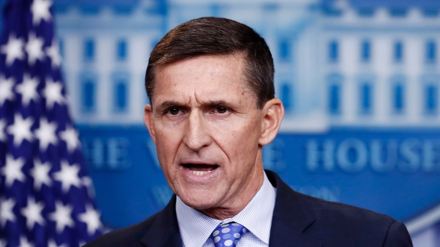 Then-National Security Adviser Michael Flynn speaks at a White House news conference in February 2017.