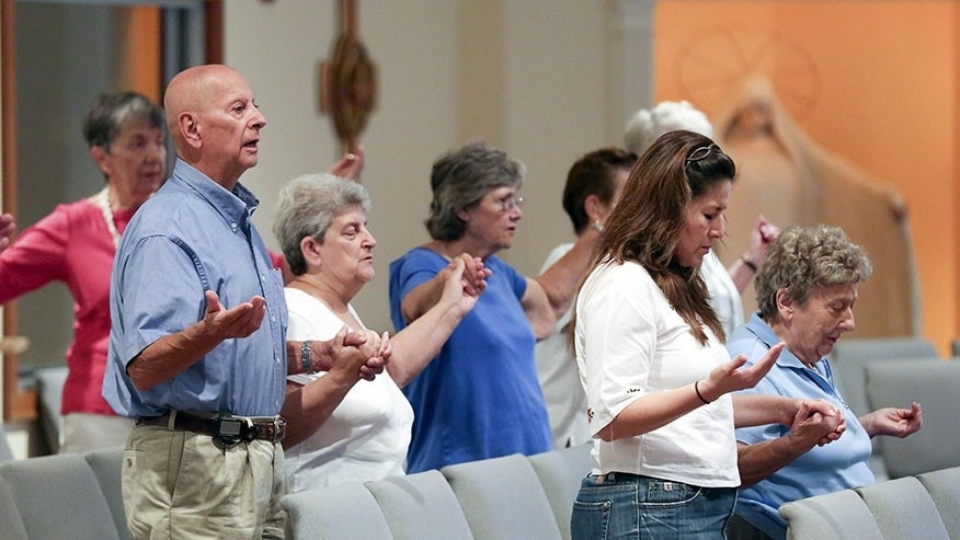 Parishioners at Resurrection Catholic Church in Moneta, Virginia.