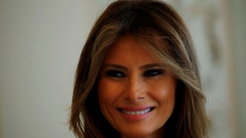 First Lady of the U.S. Melania Trump smiles during her meeting with First Lady of Poland Agata Kornhauser-Duda at the Belvedere Palace in Warsaw, Poland July 6, 2017. REUTERS/Laszlo Balogh - RTX3A8XP
